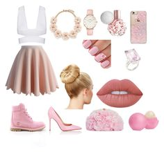 """""""Untitled #34"""" by madalynne-locke ❤ liked on Polyvore featuring beauty, Chicwish, Skinnydip, J.Crew, Timberland, Gianvito Rossi, Lime Crime, CLUSE, Eos and Betsey Johnson"""