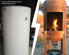DIY Electric Water Tank to a Outdoor Wood Heater This is a cool DIY project for you to get your hands dirty with this summer. I won't lie. It looks complicated, but doable. Old electric water tanks are everywhere online, Diy Wood Stove, Rocket Stoves, Wood Burner, Welding Projects, Diy Welding, Metal Welding, Metal Projects, Outdoor Projects, Backyard Projects