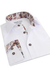 Chemise homme blanche doublure à fleurs et boutons bicolores (Double Retors)