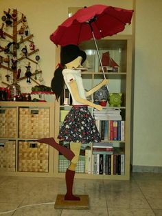 hand made wooden lamp girl with umbrella  high 1.50 metres