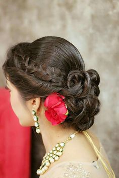of braided bun hairstyle Twisted hairstyle with braid and ringlet bridal bun for wedding day.Twisted hairstyle with braid and ringlet bridal bun for wedding day. Bridal Hairdo, Hairdo Wedding, Bridal Bun, Bridal Hair And Makeup, Hair Makeup, Wedding Makeup, Rose Wedding, Braided Bun Hairstyles, Indian Wedding Hairstyles