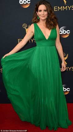 Coordinated: Best friends Amy Poehler (L) and Tina Fey both wore green dresses…