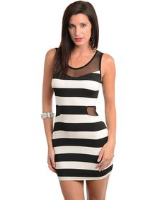 THIS SLEEVELESS BODYCON DRESS FEATURES A STRIPED PRINT WITH SHEER MESH NECKLINE AND SIDE WAIST TRIM.