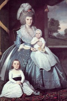 Ralph Earl (1751-1801) - Mary Floyd (Mrs. Benjamin Tallmadge) with Son Henry Floyd and Daughter Maria Jones, 1790.  #classic #art #paintings #early_American #mothers #children