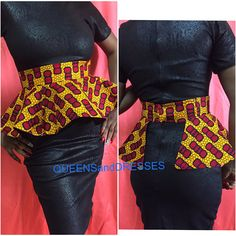detachable ankara peplum belt with matching headwrap. Latest African Fashion Dresses, African Inspired Fashion, African Print Fashion, African Attire, African Wear, African Women, African Print Dress Designs, African Print Dresses, African Shirt Dress