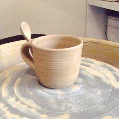 #mug #greenware #pottery #potterywheel #alfareria #terracota  #arcilla # barro #taza #spoon #wheelthrown #Padgram
