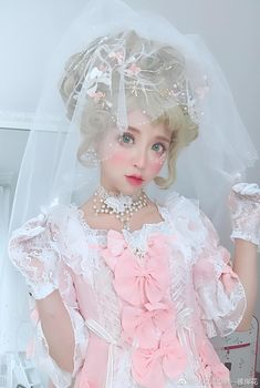 Girl Looks Like a Porcelain Doll Beautiful Soft Pastel Colors White and Peach