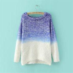Funshop Woman's Patchwork Pattern Round Neck Sweater 081236 Color Dark blue