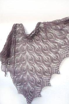 Dusty brown Knit shawl hand knit shawl floral lace shawl by Sissta,