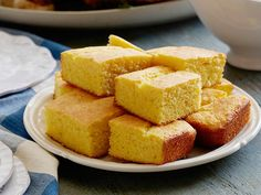 Moist and Easy Cornbread from FoodNetwork.com (double sugar and baking soda)