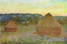1270 Wheatstacks, 1890-91, 65.8 x 101 cm, 25 7-8 x 39 3-4 in, The Art Institute of Chicago - Haystacks (Monet) - Wikipedia, the free encyclopedia