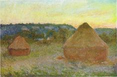 1270 Wheatstacks, 1890-91, 65.8 x 101 cm, 25 7-8 x 39 3-4 in, The Art Institute of Chicago - Haystacks (Monet) - Wikipedia, the free encyclopedia