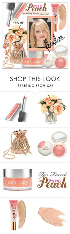 """""""She's a Peach: Peach Lipstick"""" by vittorio-1 ❤ liked on Polyvore featuring beauty, Burberry, Miss Selfridge, Sara Happ, Too Faced Cosmetics and Love Quotes Scarves"""