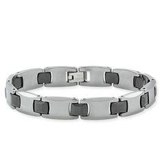 Men's Bracelet in Tungsten with Black Ceramic $169 #Holiday #Gift #Idea