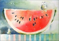 Watercolor Watermelon by Maria Stezhko