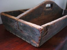 Vintage Antique Painted Wood Tool Box Caddy