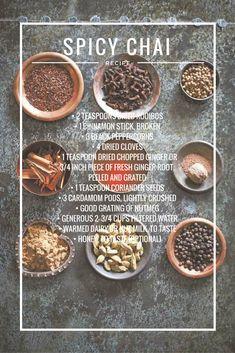 Warm up with this antioxidant-rich, caffeine-free chai. Spicy Chai Recipe, Chai Tea Recipe, Yummy Drinks, Healthy Drinks, Healthy Recipes, Cooking Recipes, Healthy Meals, Tea Recipes, Coffee Recipes