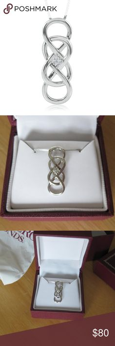 Helzberg Diamonds Infinity X Infinity necklace Gorgeous sterling silver necklace with a diamond accent in the center! This is from the Infinity X Infinity collection at Helzberg Diamonds. Never been worn, this would make a perfect gift for Valentine's Day, Mother's Day, anniversaries, or a special event. This necklace is brand new and has never been taken out of the box. It still has the bag and both boxes. Bought for $99! Helzberg Diamonds Jewelry Necklaces