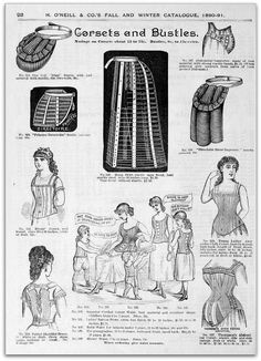 1890-91 Vintage Fashion: H.O'Neills Fall & Winter Catalogue Page 92 - Bustles & Corsets by CharmaineZoe, via Flickr