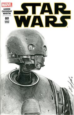 K-2SO - Graphite pencil sketch on a Marvel Star Wars #1 blank variant by George Joseph