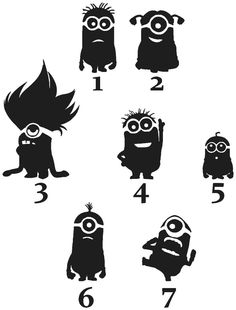 Minions Family Car Sticker set of Silhouette Images, Silhouette Portrait, Silhouette Design, Stencils, Stencil Art, Family Car Stickers, Disney Poster, Silhouette Machine, Silhouette Cameo Projects