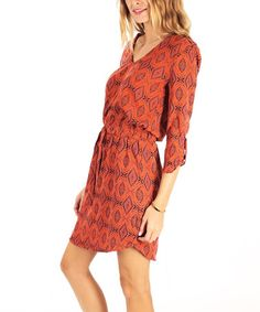 Look at this #zulilyfind! Orange & Navy Blouson Dress by Pinkblush #zulilyfinds