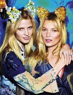 """Lara Stone and Kate Moss in """"30 Years of Optimism"""" for Love Magazine by Mario Testino."""