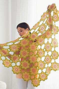 Garden Flowers Shawl By Lorna Miser - Free Crochet Pattern - (yarnspirations)