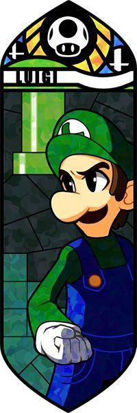 Smash Bros - Luigi by Quas-quas on deviantART. Luigi, stained glass-style. #SSBB #Luigi #fanart
