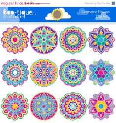 Geometric Flowers Clipart set for Instant Download includes 12 bright and cheerful rangoli graphics in various designs.    •Graphics are