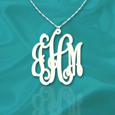 Monogram Necklace 1 inch Vine Sterling Silver Handcrafted Personalized Initial Necklace - Made in USA