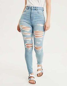 Shop American Eagle for Women's High-Waisted Jeans that look as good as they feel. Browse jeggings, skinny jeans, Curvy jeans and more in the high-waisted fit you love. Black Bootcut Jeans, Ripped Jeans, Skinny Jeans, Women's Jeans, Nova Jeans, Denim Shorts, Mens Elastic Waist Jeans, Best Jeans For Women, Teen Fashion