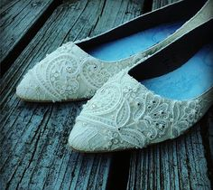 French Pleat Bridal Pointed Toe Ballet Flats Wedding Shoes - All Full Sizes - Pick your own shoe color and crystal color on Etsy, $125.00