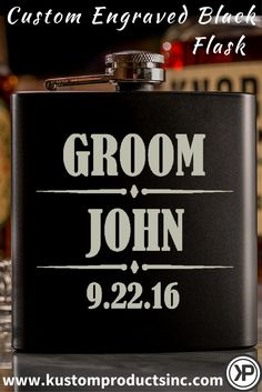 Custom Engraved Black Flask With Divided Design  $12.95  Custom Engraved Black Flask. Perfect gift for your Bridal Party! A wonderful personalized item that is great to receive anytime!