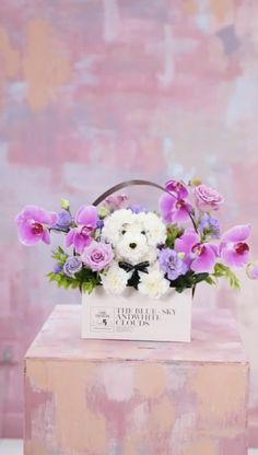 Diy Flower Boxes, Flower Box Gift, Diy Flowers, Flower Decorations, Creative Flower Arrangements, Floral Arrangements, Flower Crafts, Flower Art, Puppy Flowers