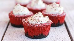 At the intersection of cheesecake and pies, these mini red velvet desserts with a chocolate wafer cookie crust are a delicious addition to any holiday spread.