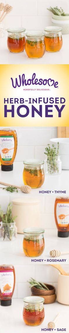 Spice up your organic honey by infusing it with organic sage, rosemary or thyme. It makes for a unique and flavorful addition!