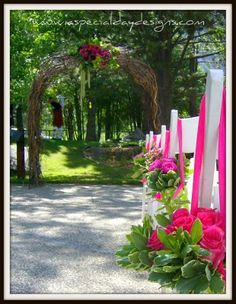 Hot pink and lime green ceremony aisle wedding decor by A Special Day Designs Shingle Springs CA at Plumpjack, Olympic Valley CA