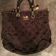 Coach purse Brown, heavily used coach purse. Outside in great condition, inside has some dirt/pen stains. Coach Bags Shoulder Bags