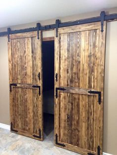Wood Double Sliding Barn Door Hardware Closet Track Kit Set ** Check this awesome product by going to the link at the image. (This is an affiliate link) Exterior Barn Doors, Old Barn Doors, Wood Doors, Black Exterior, Sliding Door Room Dividers, Room Divider Doors, Double Sliding Barn Doors, Sliding Barn Door Hardware, Sliding Cupboard