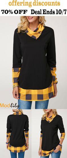 0a5de43b64df Plaid Print Button Detail Black T Shirt On Sale At Modlily. Free shipping.  70
