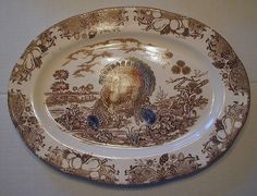 Ceramic Turkey Platter | Thanksgiving Turkey Platter - Brown Transferware