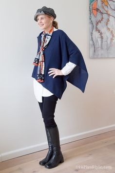 How to wear a silk scarf with a cashmere poncho | 40plusstyle.com