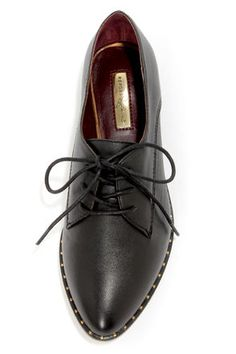 Cute Black Shoes - Lace-Up Shoes - Oxford Flats - $69.00
