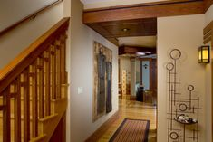 Residential Gallery – Prairie Architect – WEST STUDIO Prairie Style Houses, West Chicago, Arts And Crafts Furniture, Closer To Nature, Organic Modern, Lloyd Wright, Entryway, Stairs, Mirror