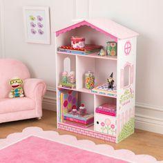 Kast perfect geschikt voor een meidenkamer om boeken en speelgoed in op te bergen. #Kinderkamer #Poppenhuis #Boekenkast