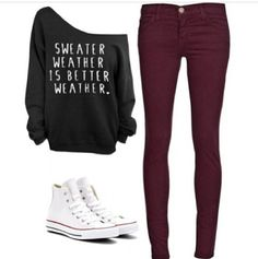 sweater weather is better weather off the shoulder sweater with maroon skinny jeans and white high tops super cute outfit