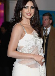 Priyanka Chopra Designer white Saree