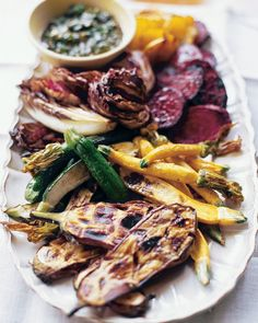 Grilled Vegetables with Herb Vinaigrette | Martha Stewart - These simply prepared vegetables need no more than an herb-and-caper vinaigrette. #easydinner #vegetarian #vegan
