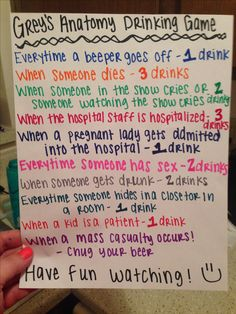 Grey's Anatomy Drinking Game!! Stacie and I created! :)